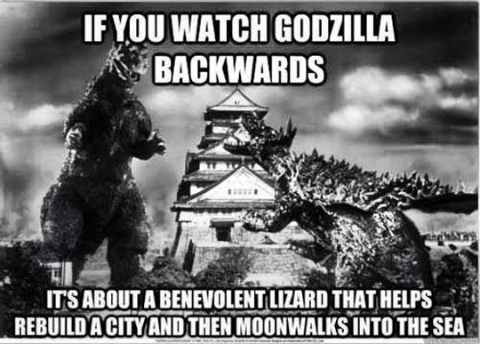 Godzilla backwards