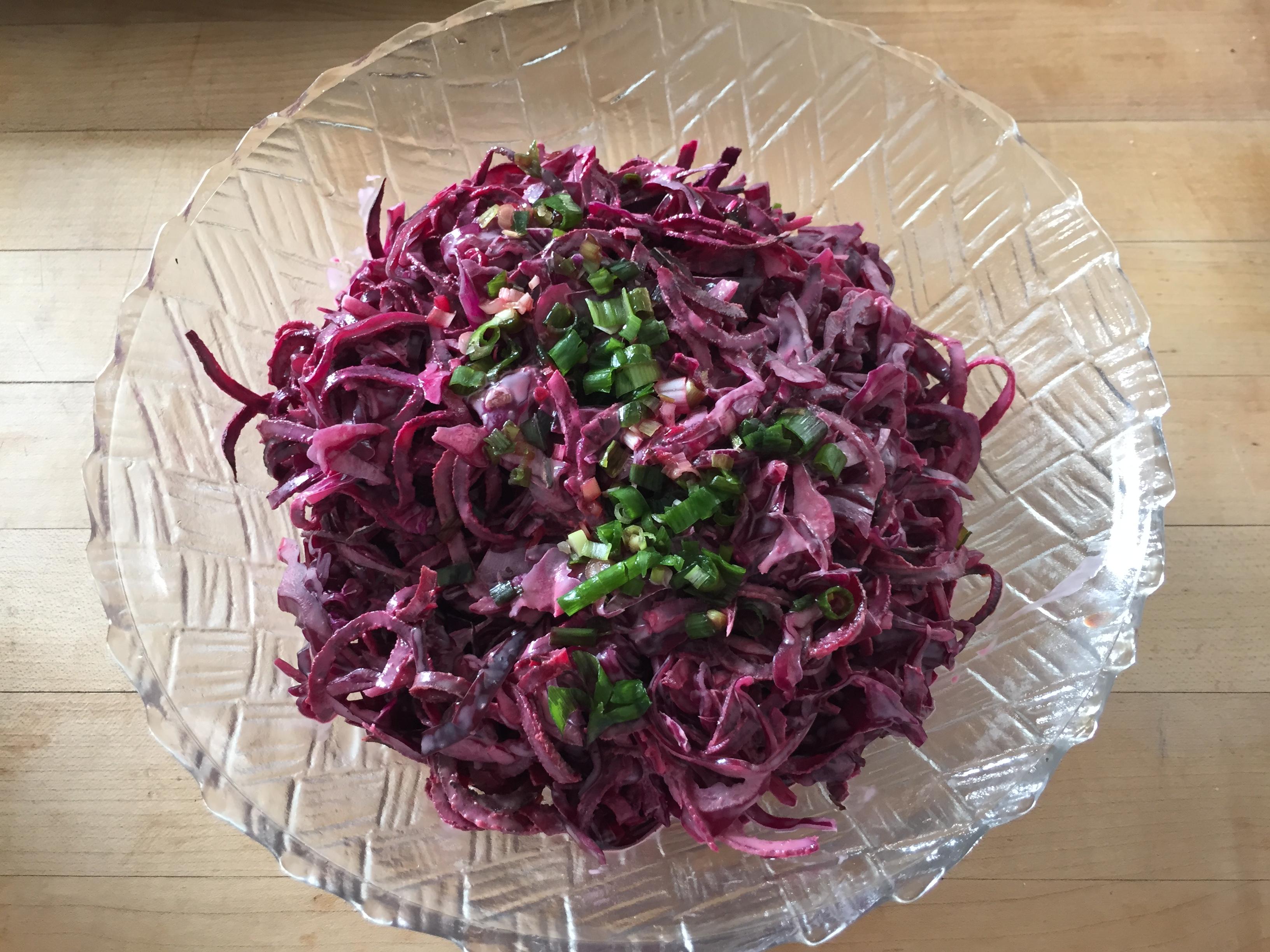beet noodle salad in bowl
