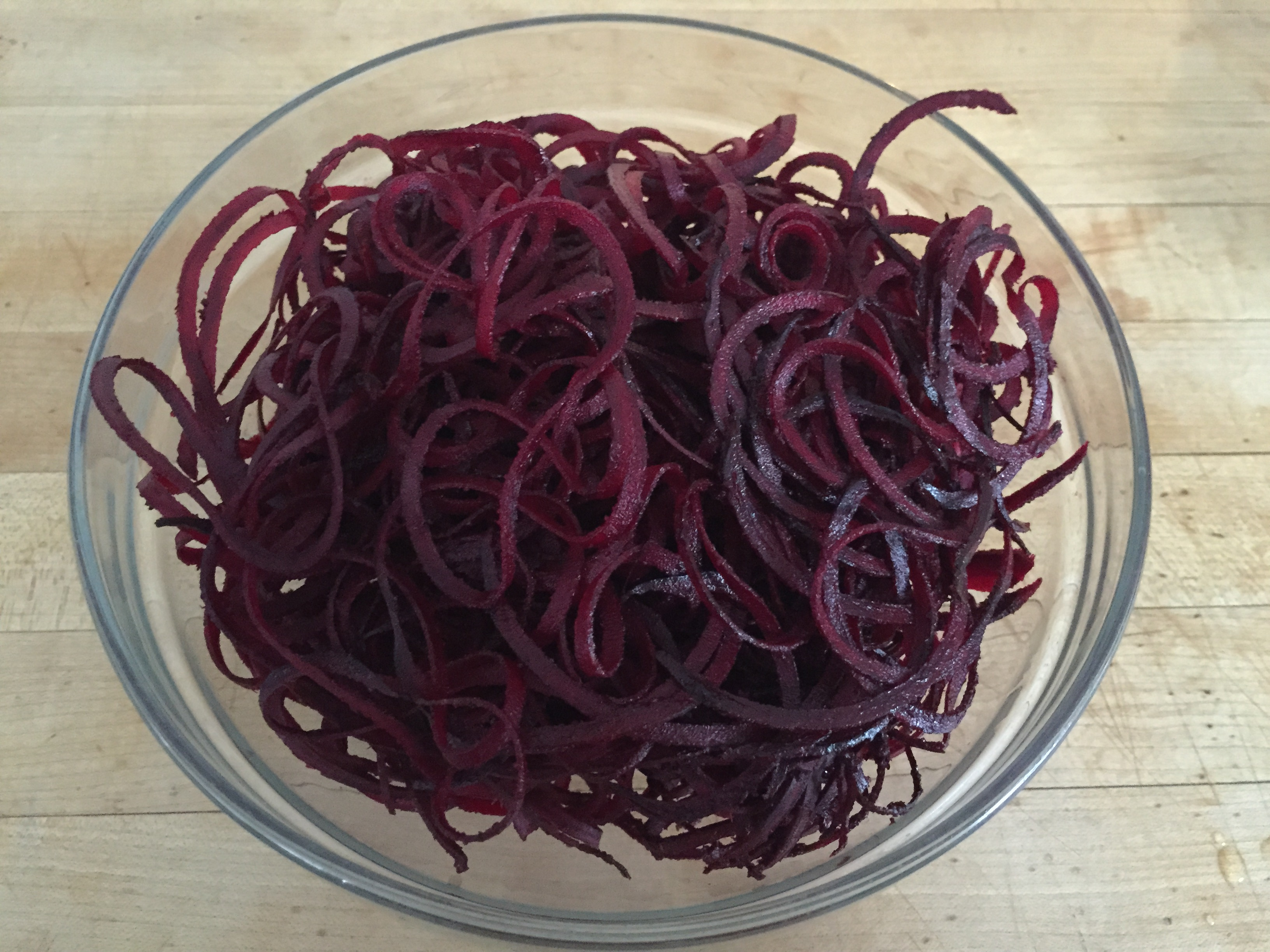 bowl of beet noodles