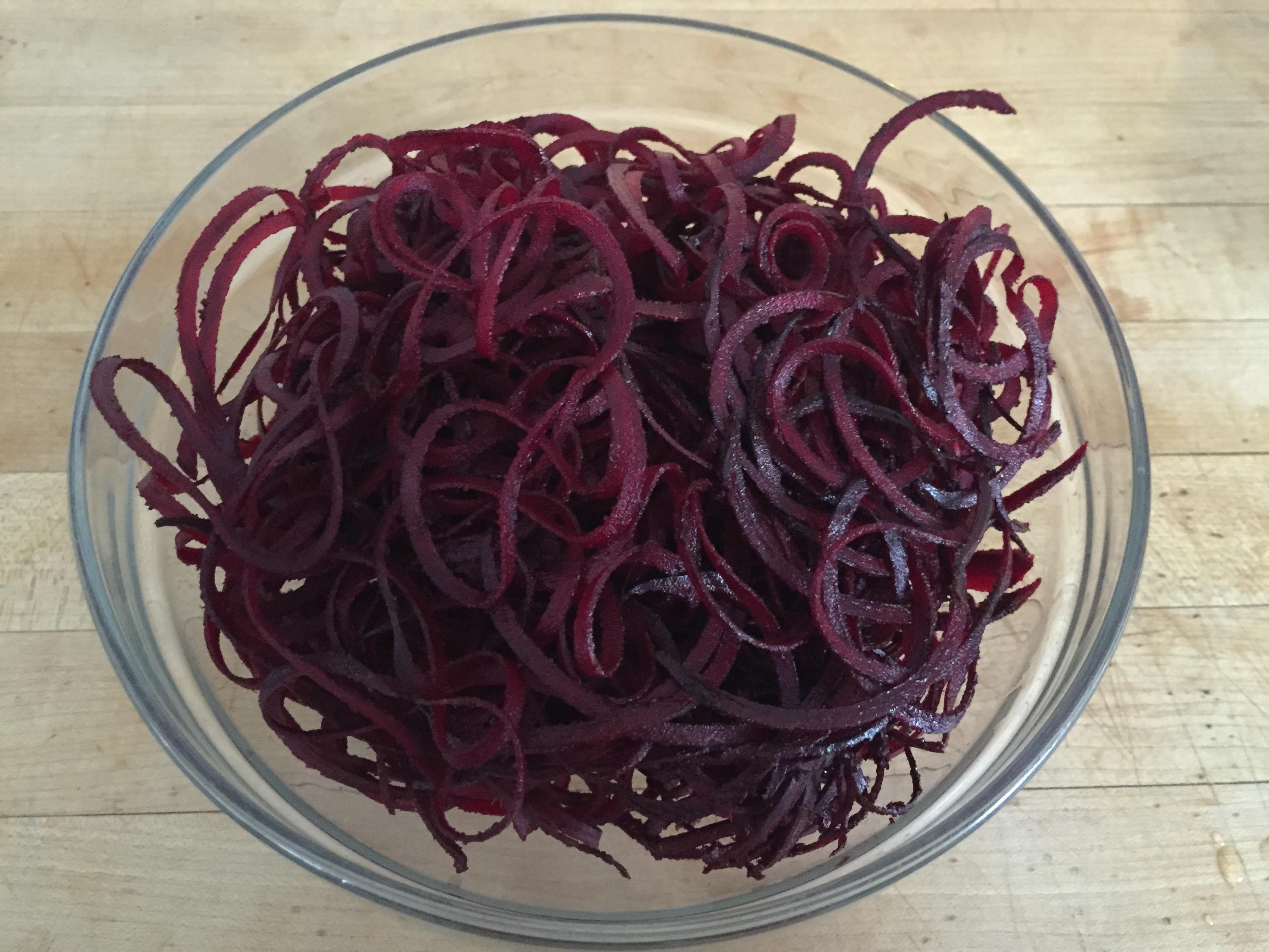 bowl of beet noodles